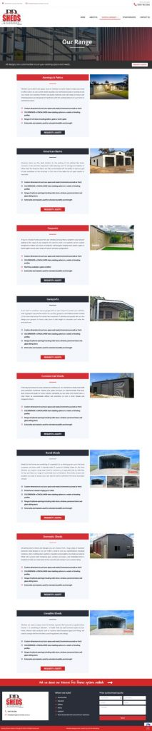 Services page of Toowoomba websites