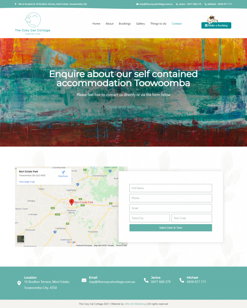 Website mock up of cottage accommodation website